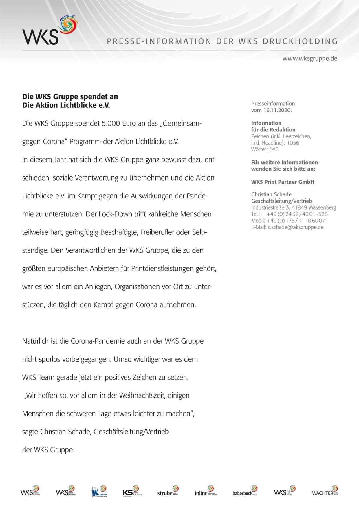 WKS Gruppe – News und Presse – Lichtblicke – Presseinformationen